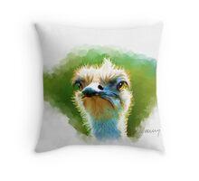 Ostrich Portrait Throw Pillow