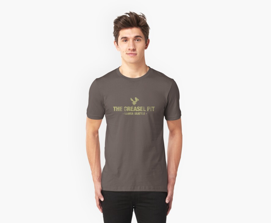 The Greasel Pit - Green on Dark Grey Shirt by James Connolly