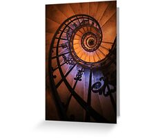 Spiral staircase  in orange and blue Greeting Card