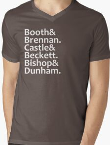 Booth, Brennan, Castle, Beckett, Bishop, Dunham Mens V-Neck T-Shirt