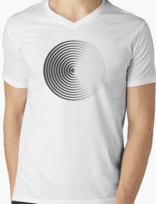 Spiky Circle Pattern - Black and White Mens V-Neck T-Shirt