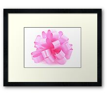 single pink ribbon gift  Framed Print