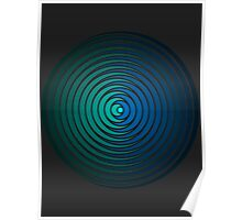 Spiky Circle Pattern - Blue and Green Poster