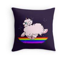 Pink Fluffy Unicorns Dancing on Rainbows Feat. Flufflepuff Throw Pillow