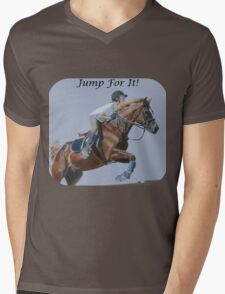 Jump For It! Horse T-Shirt Mens V-Neck T-Shirt