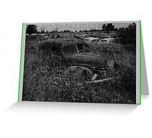 A View Into a Field Along Railroad Tracks in Upstate New York on a Quiet Saturday Night in Summer Greeting Card