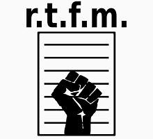 r.t.f.m. - Design with Manual and Fist in a Black Font T-Shirt