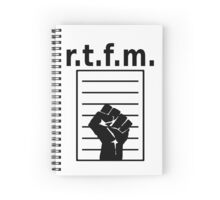 r.t.f.m. - Design with Manual and Fist in a Black Font Spiral Notebook