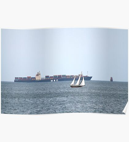 Cargo Ship and Sail Boat Poster