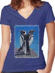 Cute Penguins T-Shirt Women's Fitted V-Neck T-Shirt