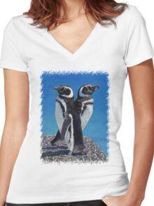 Cute Penguins T-Shirt Women's Fitted V-Neck T-Shirt