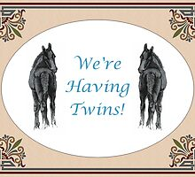 We're Having Twins - Two Foals Greeting Card by Patricia Barmatz