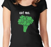 eat me. (broccoli) <white text> Women's Fitted Scoop T-Shirt