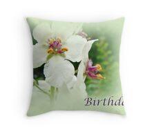 Moth Mullein Wildflowers - Happy Birthday Throw Pillow