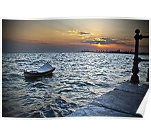BOAT SUNSET SEA Poster