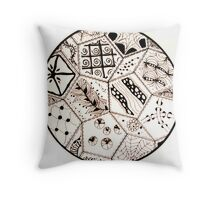 Doodles- stitched hex Throw Pillow