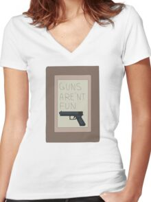 Rick and Morty: Guns Are'nt Fun Women's Fitted V-Neck T-Shirt
