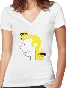 Business in the Front... Women's Fitted V-Neck T-Shirt