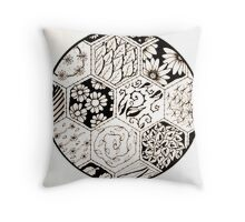 Doodles- stitched hexagonal- floral Throw Pillow