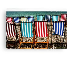 Seafront Deckchairs - Beer, Devon Canvas Print