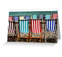 Seafront Deckchairs - Beer, Devon Greeting Card