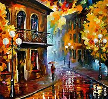 Fall Rain - original oil painting on canvas by Leonid Afremov by Leonid  Afremov
