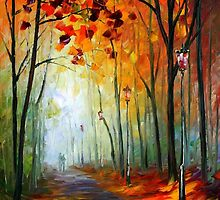 Fog Alley - original oil painting on canvas by Leonid Afremov by Leonid  Afremov