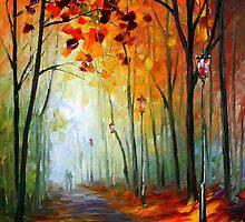 Fog Alley - original oil painting on canvas by Leonid Afremov by Leonid  Afremov