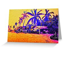 Big Island Silhouette in yellow and purple Greeting Card