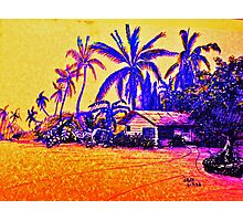 Big Island Silhouette in yellow and purple Photographic Print