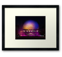 Epcot - Spaceship Earth at night Framed Print