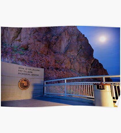 Moon rise over the Mike O'Callaghan - Pat Tillman memorial bridge Poster