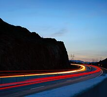 Light trails at Hoover Dam  by raceman