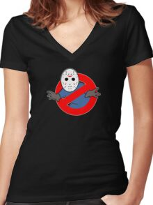 Ghostbusters (Jason Voorhees) Women's Fitted V-Neck T-Shirt