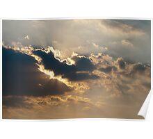 Sun beams bursting through the clouds Poster