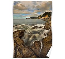 Waimama Bay Rocks Poster
