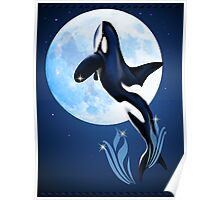 Leaping Orca and Moon Poster Poster