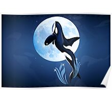 Leaping Orca and Moon Poster2 Poster