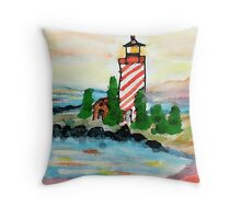 Lighthouse on the point, watercolor Throw Pillow