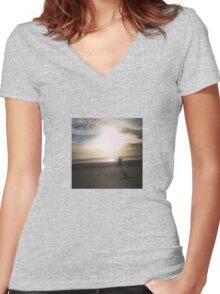 Sunset Beach Joy Women's Fitted V-Neck T-Shirt