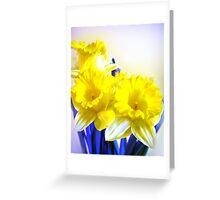 Daffodils blue yellow watercolor  Greeting Card