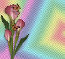 Calla lily and butterflies rainbow  by Irisangel