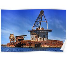 Shipwrecked Barge off the Pilbara coast, Western Australia Poster
