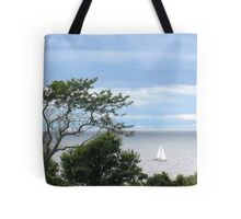 Sloop sailing off of Block Island Tote Bag