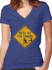Watch Out For Zombies Women's Fitted V-Neck T-Shirt
