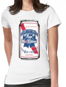 Pug Blue Ribbon Womens Fitted T-Shirt