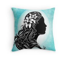 beautiful girl silhouette  Throw Pillow