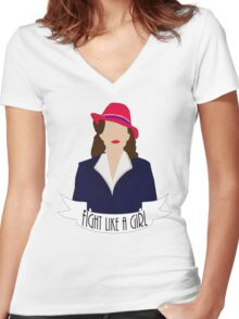 """P. Carter: """"Fight like a Girl."""" Women's Fitted V-Neck T-Shirt"""