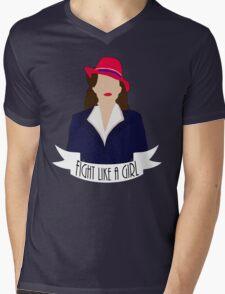 """P. Carter: """"Fight like a Girl."""" Mens V-Neck T-Shirt"""