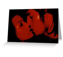 kissing red Greeting Card